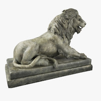 3ds max stone lion sculpture