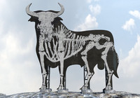 bull billboard graffiti 3d obj