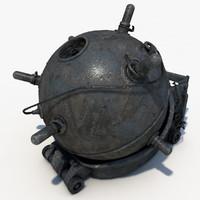 sea naval mines 3d max