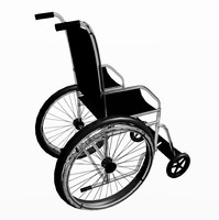3d model wheelchair chair wheel