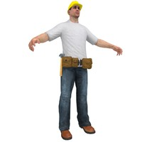 handyman worker man 3d model