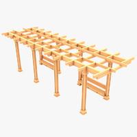 3d wooden pergola 01 wood model