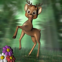 Cartoon Deer Rigged