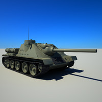 soviet tank su-100 3d max