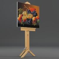 drawing canvas tripod uv-unwrapped 3d model