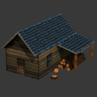wood cutter house 3d model