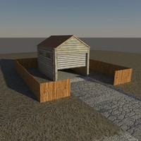 3d garage wood roll model