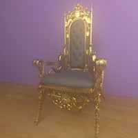 gold throne chair 3d model