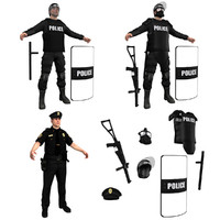 3d police officers pack model