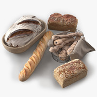 photorealistic bread 2 assets obj