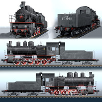 russian steam locomotive series 3d model