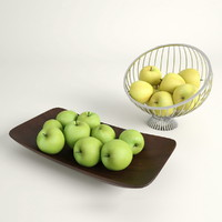 3d model green apples
