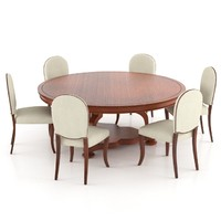 classic table chair 3d max