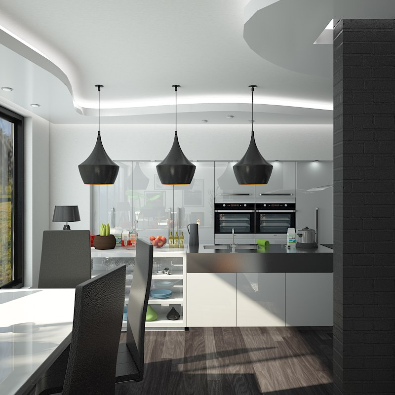 Interior scene kitchen dining max for Dining room 3d max interior scenes