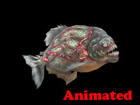 3d piranha animal polys model