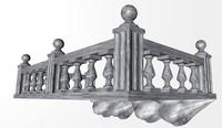 marble stone balcony 3d model