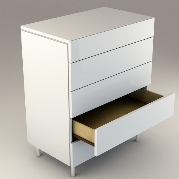 modern white drawers c4d