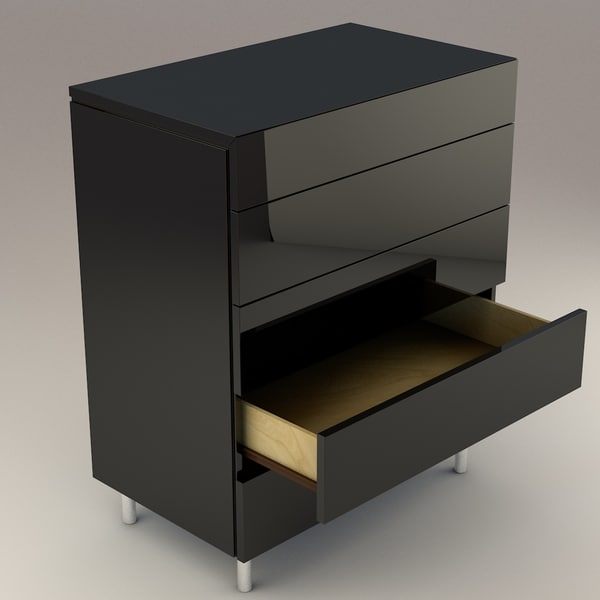 modern black drawers obj