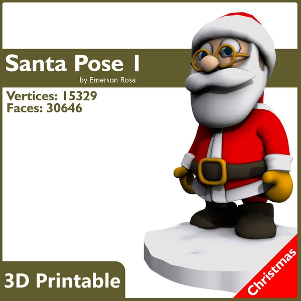 santa print-ready christmas 3d model