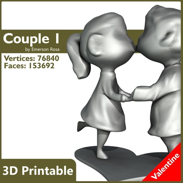 Valentine 3D Printable - Paissonate Couple 01