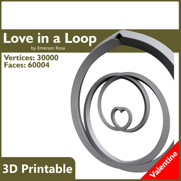 Valentine 3D Printable - Love in a Loop Pendant