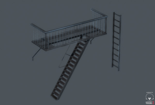 3d model balcony ladder polygonal