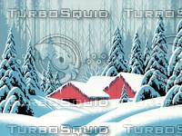 Snow Scene with Barns / S-009