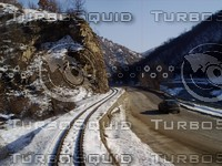 Mountain railway and road ( turn )