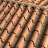 Dusty Rounded Terra Cotta Roof tiles  ------ High Resolution