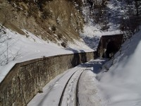 Rails and tunnel behind