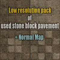 Low resolution pack of used stone block pavements 1 + normal map