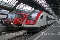 SBB INTER-CITY AND 406 TRAINS AT HAUPT BAHN-HOFF