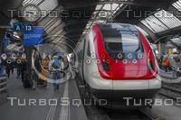 SBB HIGH-SPEED TRAIN AT HAUPT BAHN-HOFF PLATFORM A13