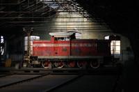 Diesel locomotive in depot