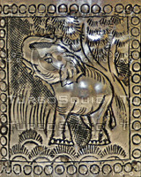 THAI ELEPHANT METAL PLATE SMALL