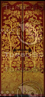 Red and gold ornate oriental door