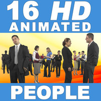 16 HD Animated People - Business Standing - v2