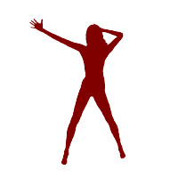 Flash Animation Dance: Pop Dancing 01 (Woman with long hair) maroon