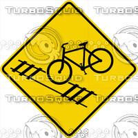 Caution Bike Train Tracks Sign