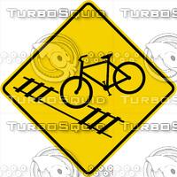 Caution Bike Train Tracks Sign