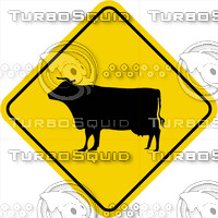 Caution Cow Crossing Sign