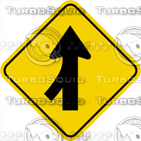 Caution Merge Left Sign