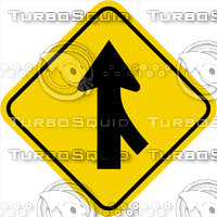 Caution Merge Right Sign