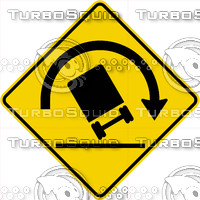 Caution Truck Tip Right Sign