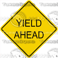 Caution Yeild Ahead Text Sign