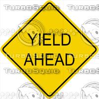 Caution Yeild Ahead Text Sign