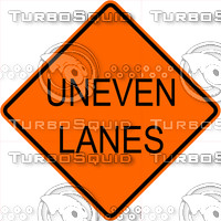 Construction Uneven Lanes Signs
