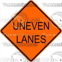 Construction Uneven Lanes Signs
