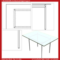 LC12 Table Glass Top 120x80 Multi-View Block