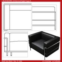 LC3 Armchair Multi-View Block